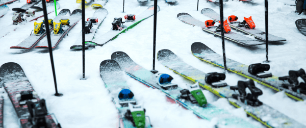 Winter skis and poles in the snow