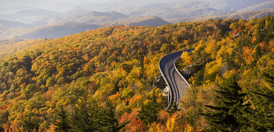 The road by Grandfather Mountain that leads to the Visitor Center in Asheville