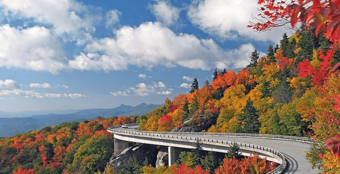Fall colors along the Linn Cove Viaduct of the Blue Ridge Parkway